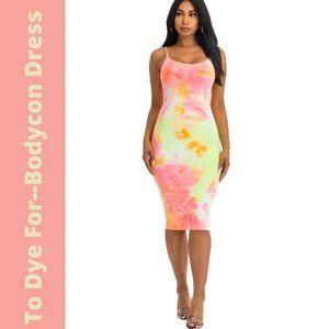 Capella Tie Dye Spaghetti Strap Bodycon Midi Dress